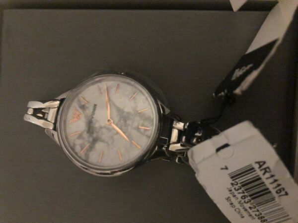Emporio Armani AR11167 Marble White Dial Stainless Steel Analog Ladies Watch