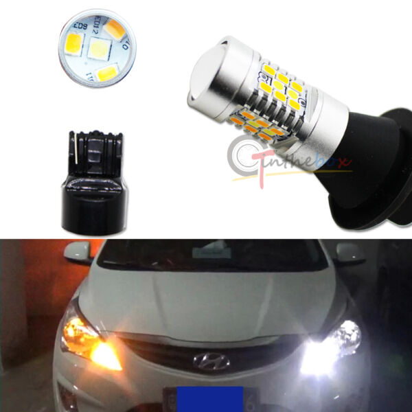 CAN bus 7440 T20 Switchback White Amber 28 SMD LED DRL Turn Signal Light Bulbs