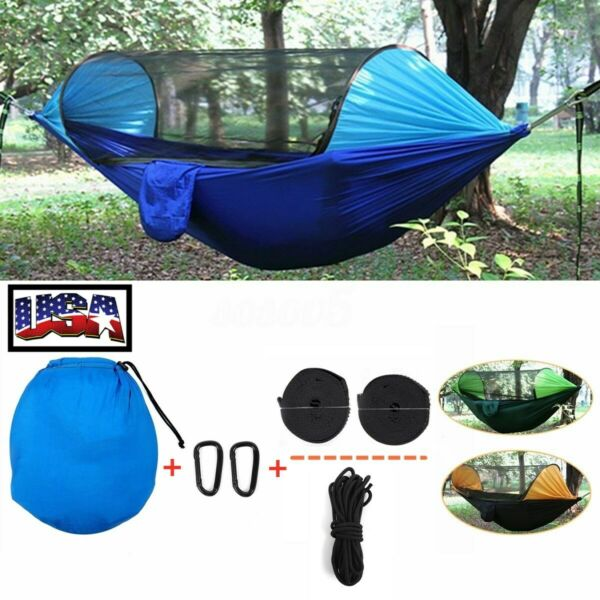 Portable Automatic Tent Camping Hammock Mosquito Net Rain Cover Waterproof Bed