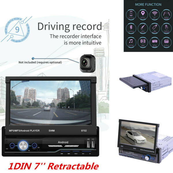 1DIN 7#x27;#x27; Retractable Stereo Radio Bluetooth GPS MP5 Player For Car Android 8.1