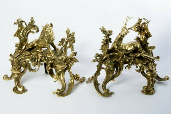Pair of Gold Gilt Bronze Andirons Chenets with Boar & Stag Louis XVI Rococo 17
