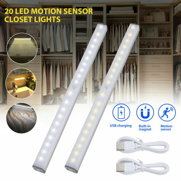 20 LED USB Rechargeable Motion Sensor Closet Lights Wireless Under Cabinet Light