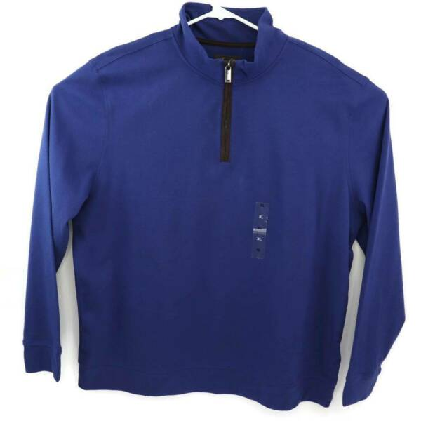 Tasso Elba Mens 14 Zip Pullover Sweater Pompadour Blue Cotton Faux Suede XL New