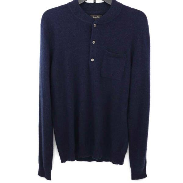 Tasso Elba Mens Lux Lounge Henley Sweater Navy Heathered 100% Cashmere S New