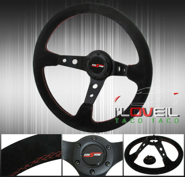 350mm Suede Leather Black Red Trim Steering Wheel Light Weight 2 Circle Design