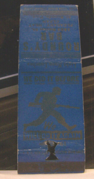 Rare Vintage Matchbook Cover K3 Roundly's Bar Pleasant Neat We Did it Before Dog
