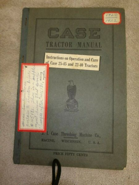 J. I. CASE 22 45 and 22 40 OWNERS MANUAL CROSS MOTOR Antique Gas Engine Tractor $85.95