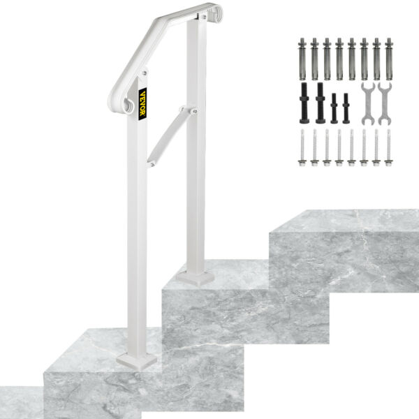 Wrought Iron Handrail Arch Fits 1 or 2 Steps Railing Outdoor Hand Rail White