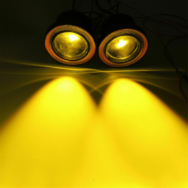2X 3 inch Yellow LED Fog Light Driving Lamp w Amber COB Angel Eyes Halo Rings