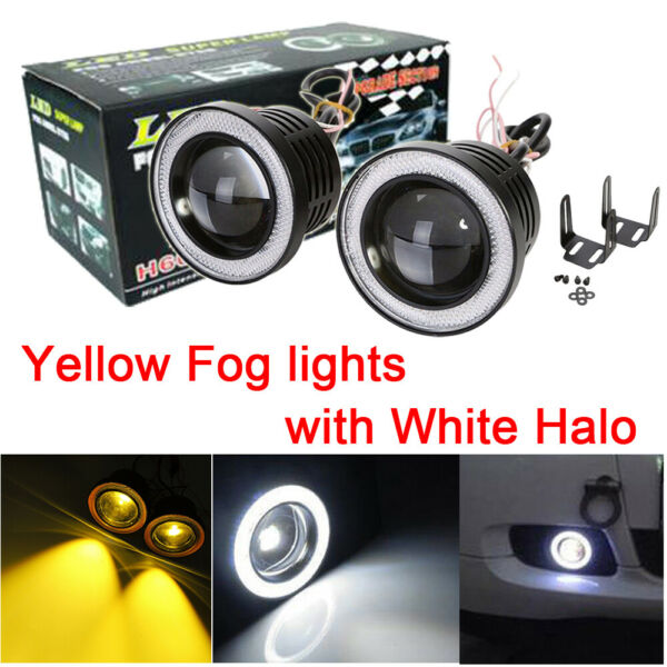 2x 3'' Yellow LED Fog Light Projector Lens Driving Lamp w White Angel Eyes Halo