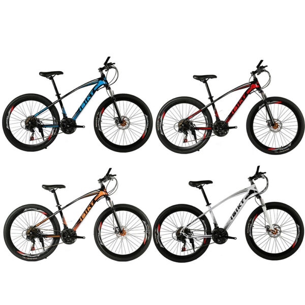 26 inch Mountain Bike 21 Speed Carbon Steel Frame Dual Disc Brakes Bicycle