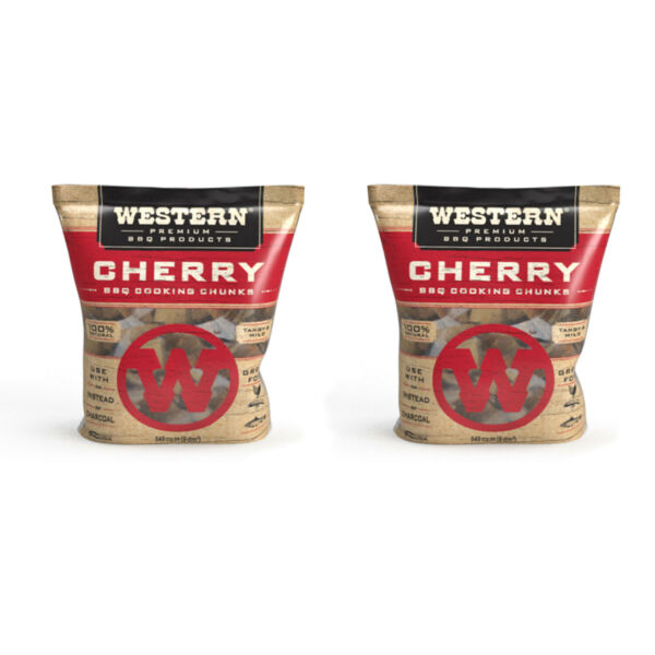 Western BBQ Smoking Barbecue Pellet Wood Cooking Chip Chunks Cherry 2 Pack $24.99