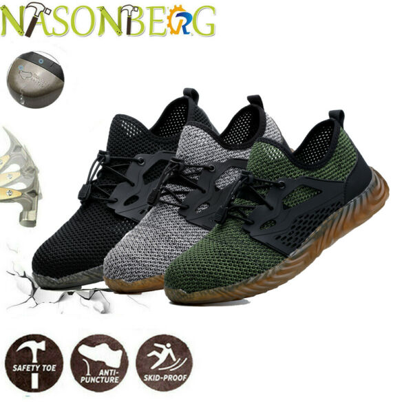 NASONBERG Mens Safety Shoes Steel Toe Work Midsole Boots Breathable Hiking US