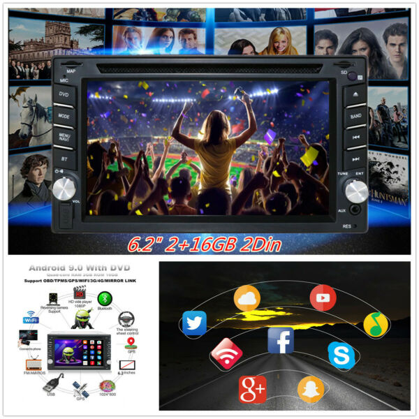 Android 9.0 6.2quot; 216GB 2Din Car GPS DVD Player Stereo Radio WIFI Mirror Link