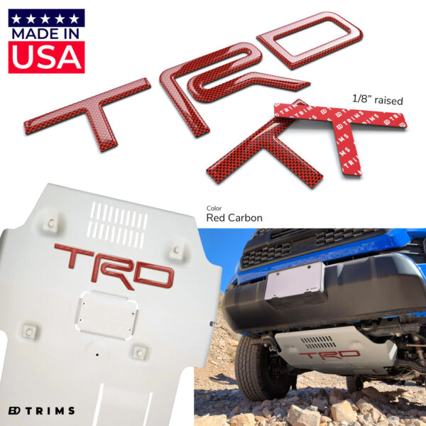 Red Carbon 3D Letters fits TRD Skid Plate Tacoma 2016 2020 4Runner 2019 2020 $29.95