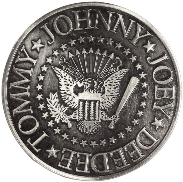 The Ramones Hey Ho Let#x27;s Go Seal Johnny Joey DeeDee Tommy Belt Buckle Grey $14.00