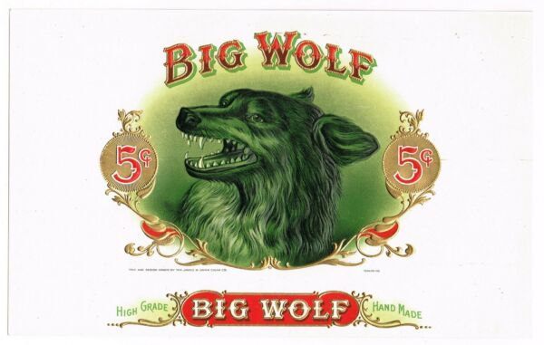 CIGAR BOX LABEL VINTAGE C1920S INNER EMBOSSED BIG WOLF FEROCIOUS BEAST FIVE CENT