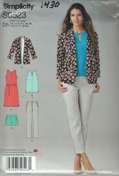 Simplicity 1430 Misses' Pants Shorts Dress Top and Jacket    Sewing Pattern