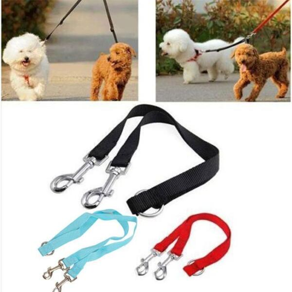 Double Lead Coupler Twin Dog Two Pet Dog Walking Duplex Leash Splitte SL $3.49