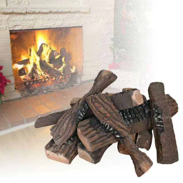 10 Pcs LARGE Ceramic Wood Log Set Fake Fire Firepit Logs Decor Imitation Propane