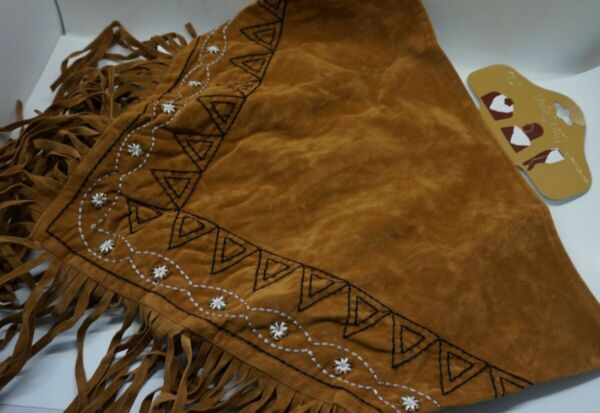 Western Fringe Cowgirl Multi SCARF Triangle BROWN Faux Suede Embroider AC17 2 22 $7.99