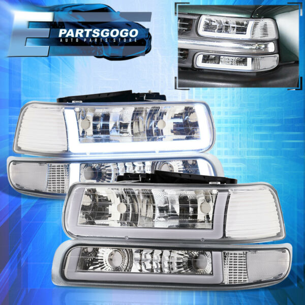 For 99-02 Silverado Tahoe LED DRL Chrome Housing Clear Lens Headlights Assembly