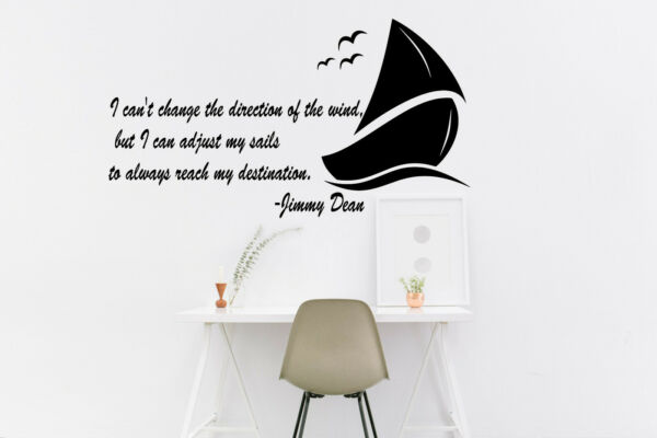Wall vinyl decal sticker inspirational quote by Jimmy Dean sailing quote ican