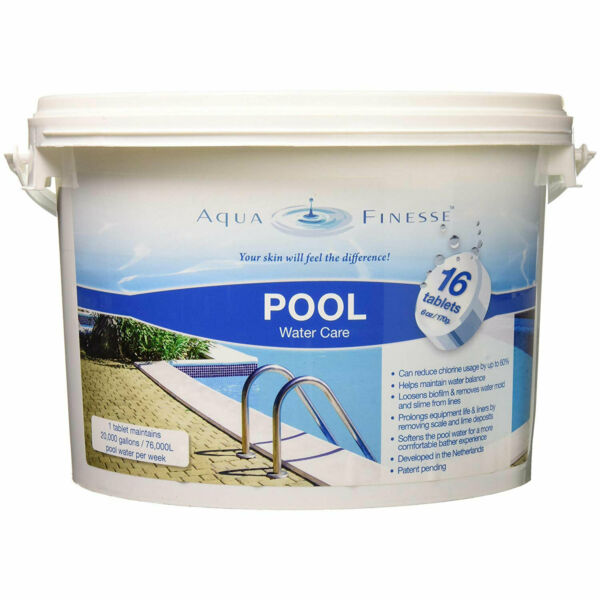 AquaFinesse 956330 Pool Hot Tub Clean Water Care Tablet Pail 16 6-Ounce Tablets