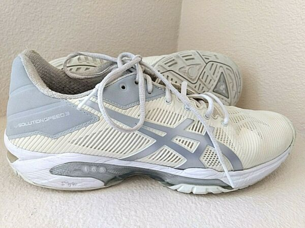 Asics Gel-Solution Speed 3 Ivory White Silver Tennis Shoe E650N Womens Size 9
