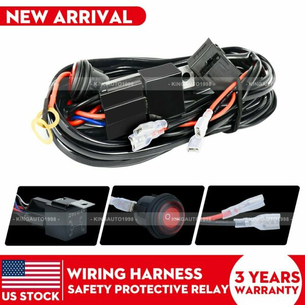 2Lead for LED Light Bar Wiring Harness Kit 12V 40Amp Fuse Relay ON OFF Switch