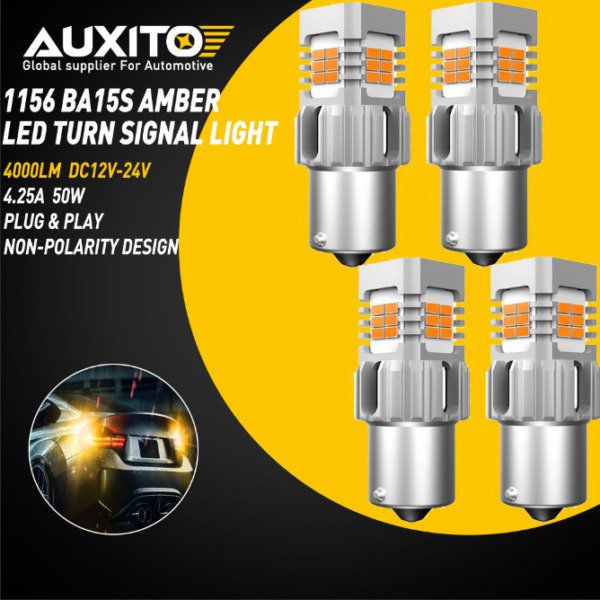 AUXITO Light 4x1156 LED Amber Yellow Turn Signal Blinker CANBUS Light Bulbs 4KG2