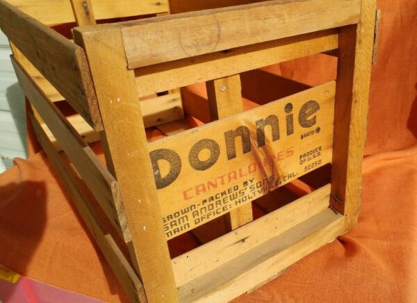 DONNIE Cantaloupe Crate Vintage Wooden produce Calif USA rustic storage box