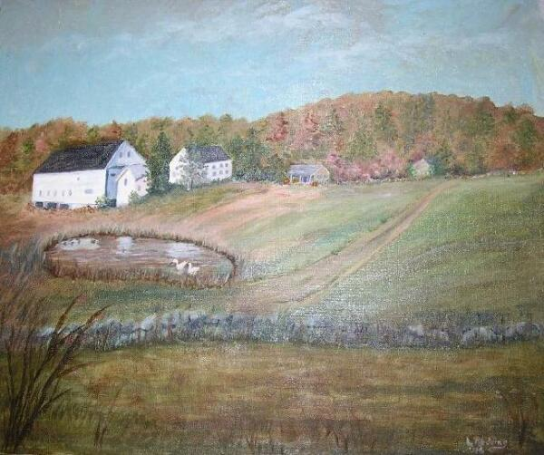 AMERICANA VINTAGE FARMS FOLK ART HOUSE SWAN AUTUMN APPLE ORCHARD OIL PAINTING