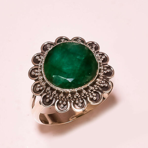 FACETED SAKOTA MINES EMERALD VINTAGE STYLE 925 STERLING SILVER RING SIZE 9 US