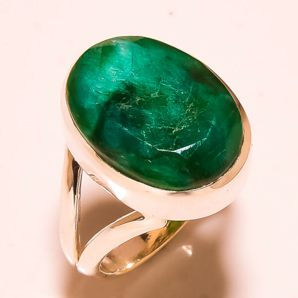FACETED SAKOTA MINES EMERALD 925 SOLID STERLING SILVER RING SIZE 6.75 US