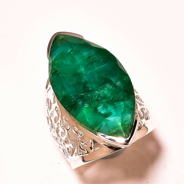 FACETED SAKOTA MINES EMERALD 925 STERLING SILVER RING SIZE 9.50 US