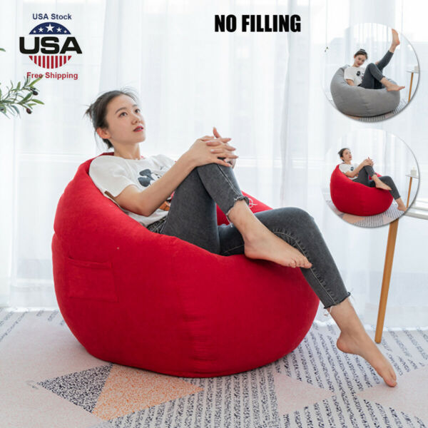 Dorm Bean Bag Chair Beanless Sofa Couch Cover Indoor Outdoor Lazy Lounger Seat $30.26