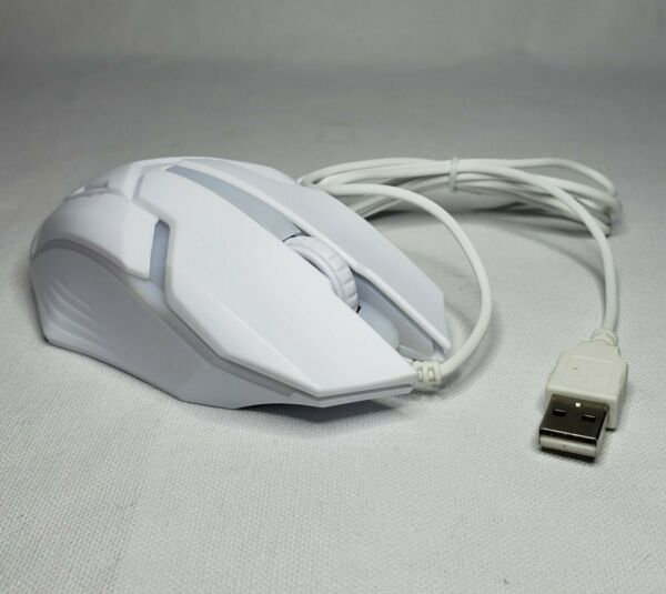 White Gaming USB Wired Optical Mouse Windows