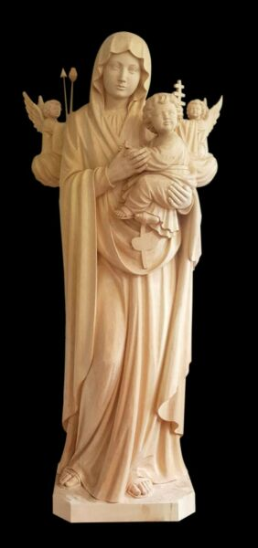 OUR LADY OF MIRACLES 590 ft With Angel and Child Statue woodcarved handmade