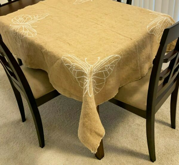 Burlap Squares Tablecloth 55 x 55 Inch tight weave No Fray jute Table Topper