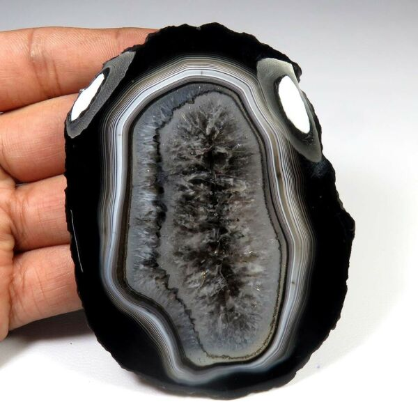 HUGE BLACK SLICE DRUZY AGATE GEODE CABOCHON 280 Cts NATURAL GEMSTONE SCL 945