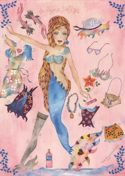 MERMAID NEW YORK NAUTICAL FASHION MODEL PIN UP PAPER DOLL HIPPIE CHIC PAINTING