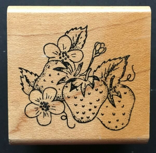 STRAWBERRY FRUIT BUNDLE PRODUCE FOOD Embossing Arts Wood Mounted Rubber Stamp