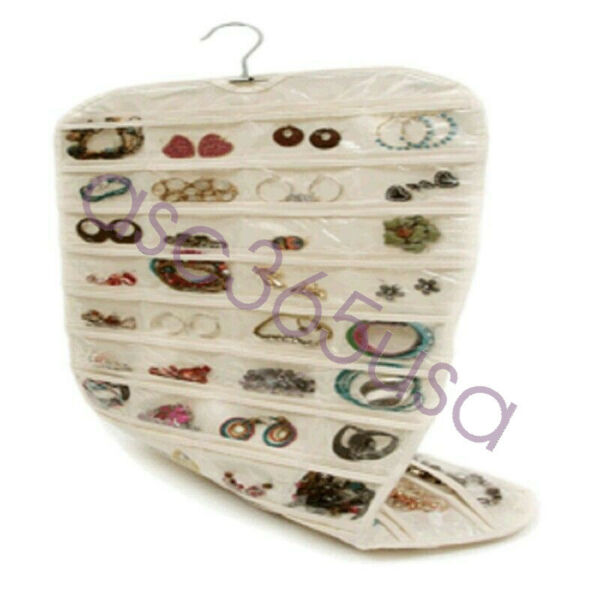 Beige 80 Pocket Hanging Jewelry Organizer Earring Display Pouch Bag Convenient
