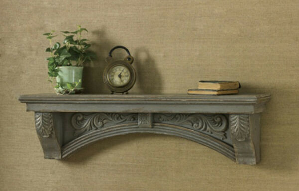 Primitive Country Mantle Shelf Distressed Aged Gray Vintage Look FREE SHIPPING