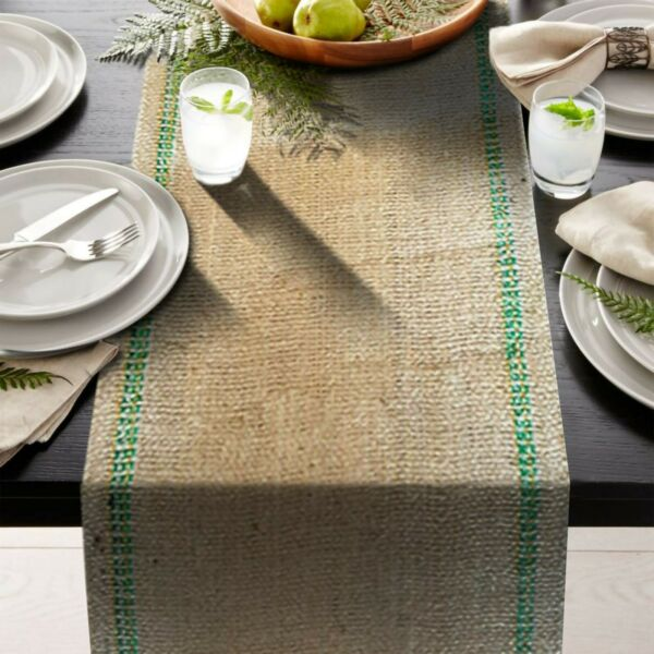 Green stripe inlay 12quot; x 108quot; Burlap Table Runner Rustic fringe edges