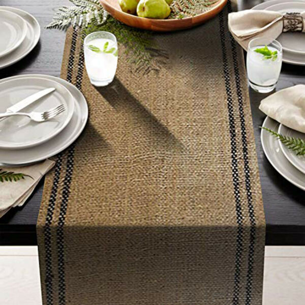 2 black stripe inlay 12quot; x 108quot; Burlap Table Runner Rustic fringe drop edges