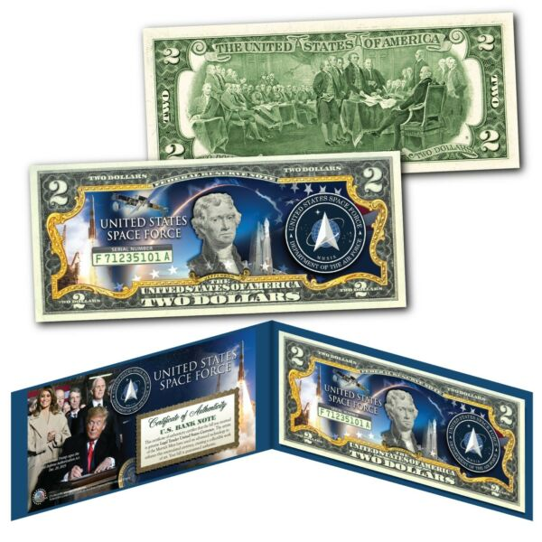 United States Space Force USSF 6th Military Branch Genuine U.S. $2 Bill with COA