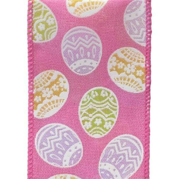 Easter Egg Spring Solid Pink Burlap Weave Wide Wired Ribbon 25 yd green purple