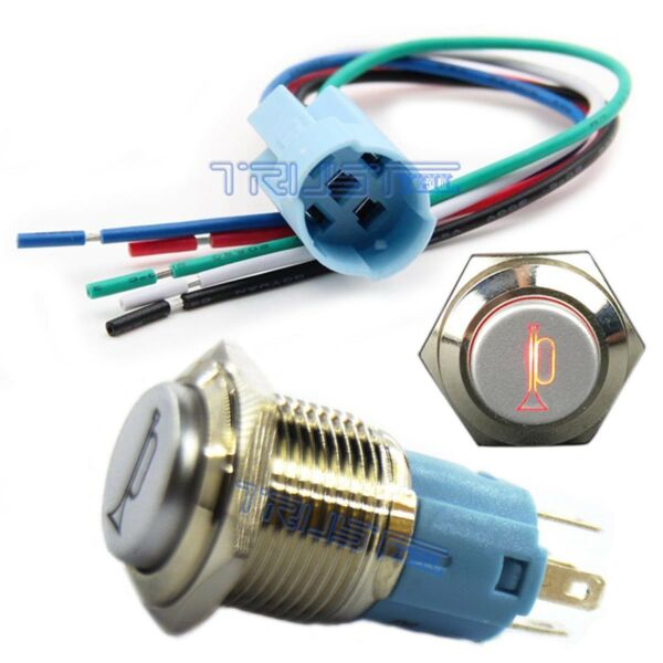 12V Car Boat LED Momentary Horn Button Metal Switch 16mm Push Button Lighted